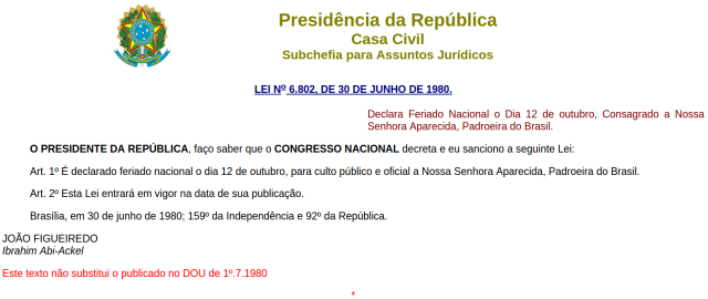 Lei 6.802 - Feriado Nacional